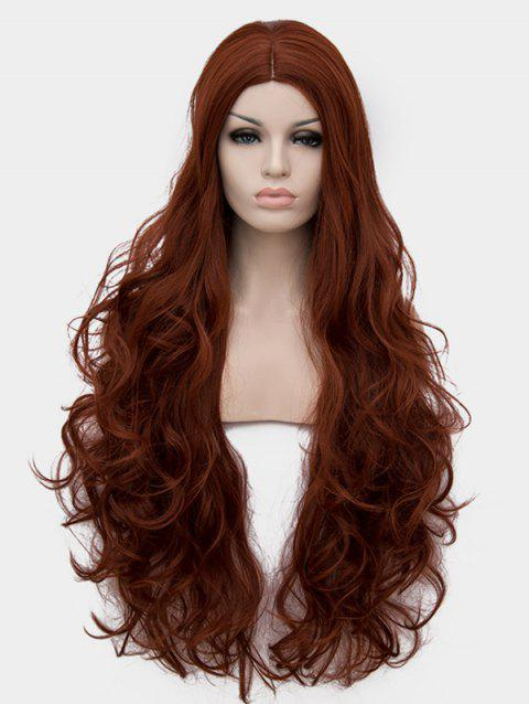 Center Parting Long Wavy Cosplay Anime Synthetic Wig - BROWN