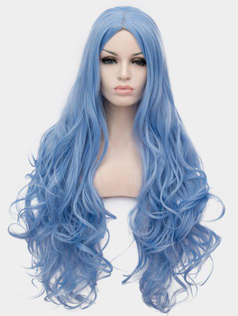 Center Parting Long Wavy Cosplay Anime Synthetic Wig - BABY BLUE