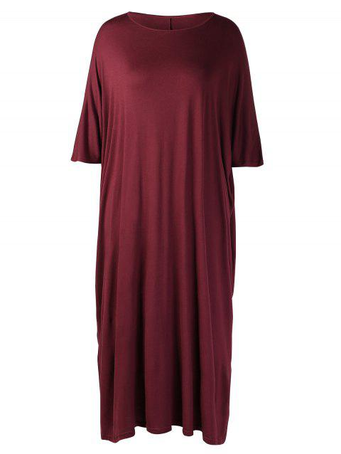 Plus Size Round Neck Shift Dress - RED WINE L