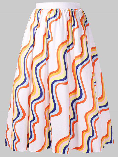 Plus Size Rainbow Midi Skirt - multicolor L