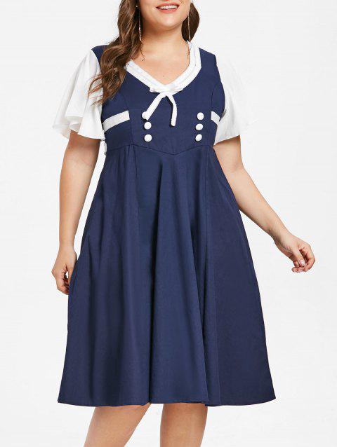 Plus Size Bow Tie Flared Dress - CADETBLUE 1X
