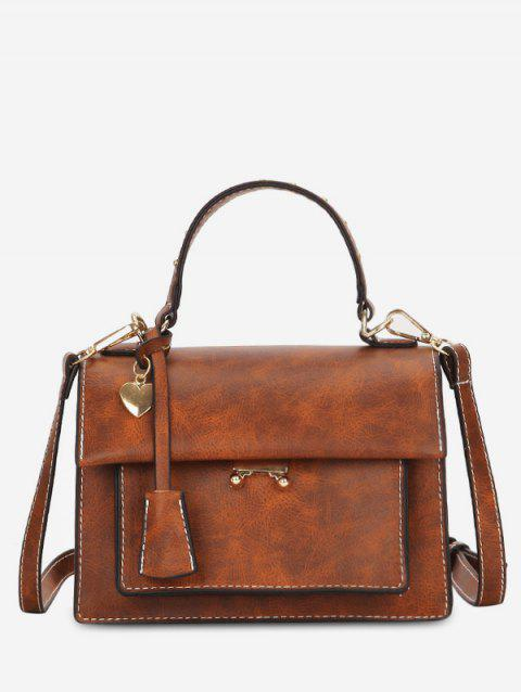 Metal Heart Solid Minimalist Handbag - BROWN