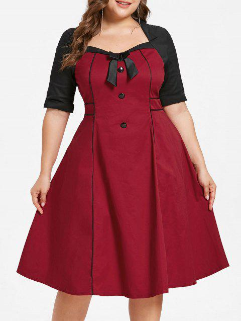 Plus Size Color Block Knee Length Dress - RED 1X