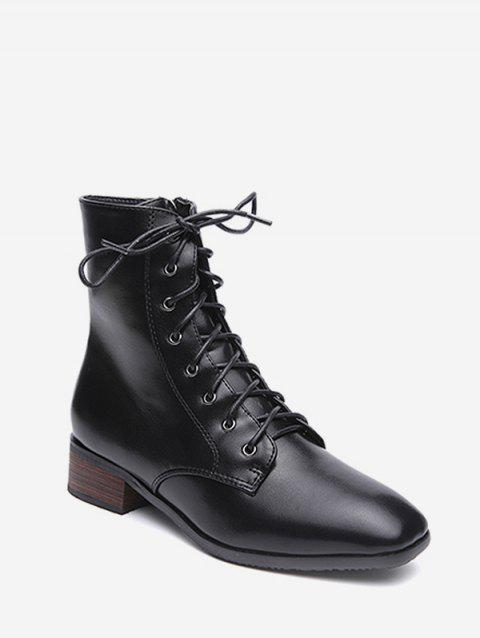 Square Toe PU Leather Short Boots - BLACK EU 39