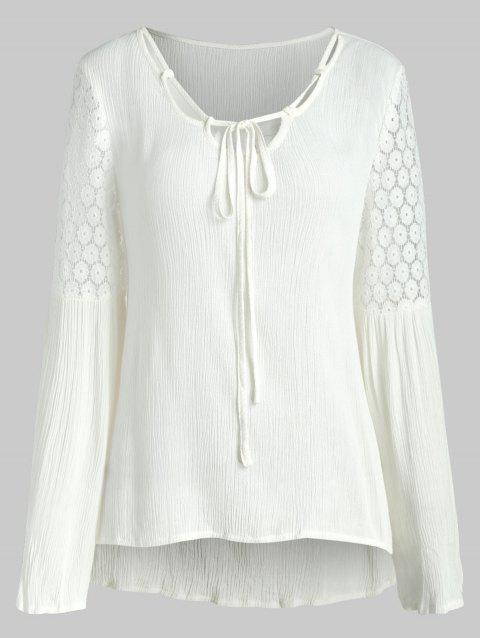 Self Tie Lace Panel Blouse - WHITE M