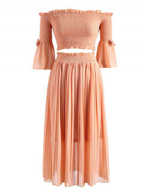 Smocked Top with Pleated Skirt - TANGERINE M