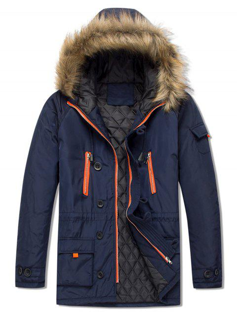 Casual Pockets Hooded Outwear Coat - CADETBLUE S