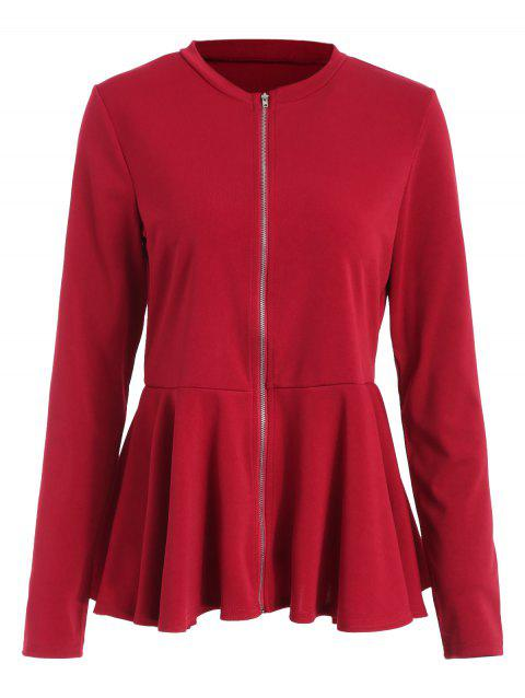 Zip Through Jersey Peplum Hem Jacket - RED WINE XL