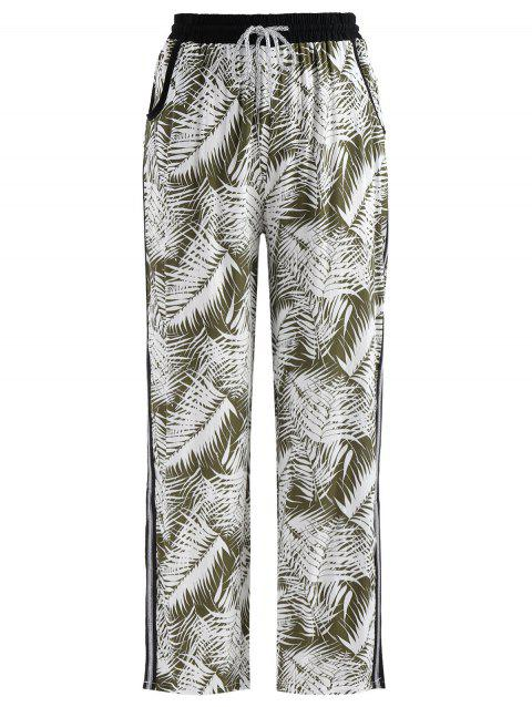 Tropical Print Slit Pants - multicolor L