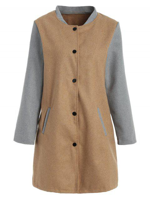 Snap-button Color Block Coat - TAN XL