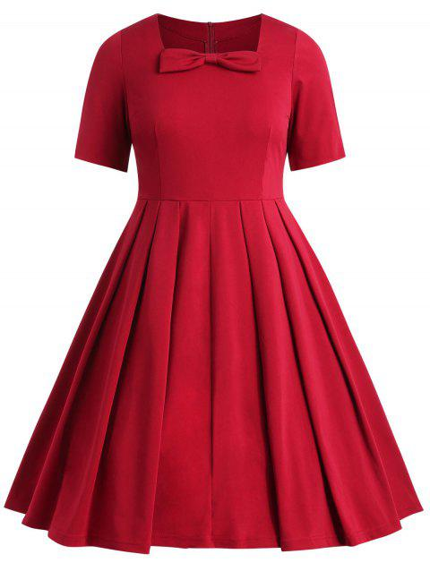 Plus Size Knot Square Neck Dress - RED 2X