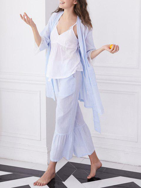 Lace Insert Plaid Pajama Set - POWDER BLUE L