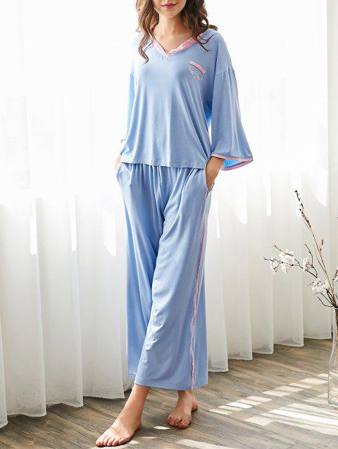 Embroidered Contrast Sleep Set - SKY BLUE L