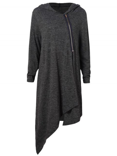 Zip Up Asymmetrical Duster Hoodie - CARBON GRAY 2XL