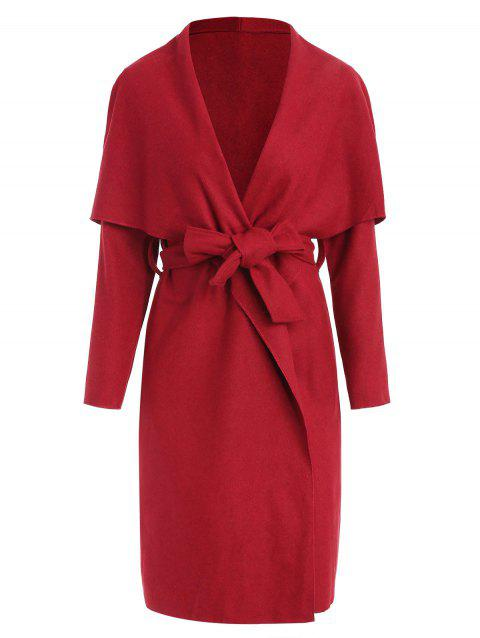 Shawl Collar Belted Long Wrap Coat - RED XL