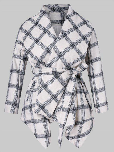 Asymmetrical Shawl Collar Plaid Belted Coat - WHITE 1X