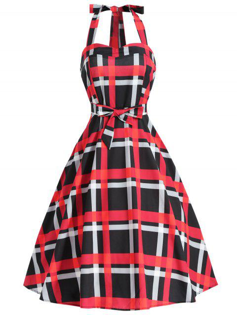Plaid Vintage Dress with Belt - RED XL