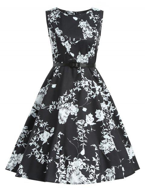 Vintage Floral Dress with Belt - BLACK 2XL
