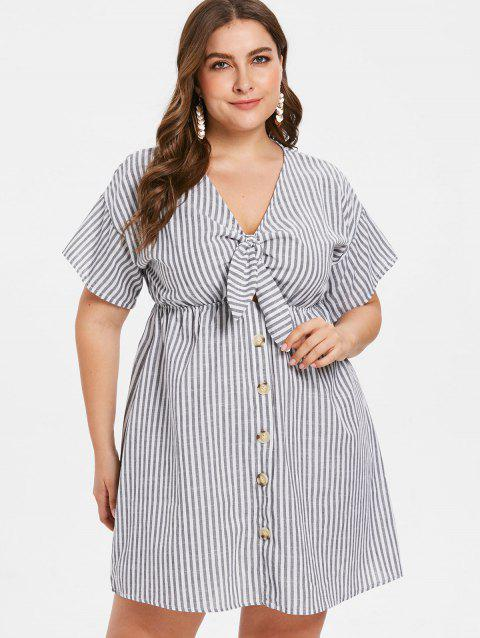 Plus Size Striped Plunging Knotted Dress - GRAY 1X