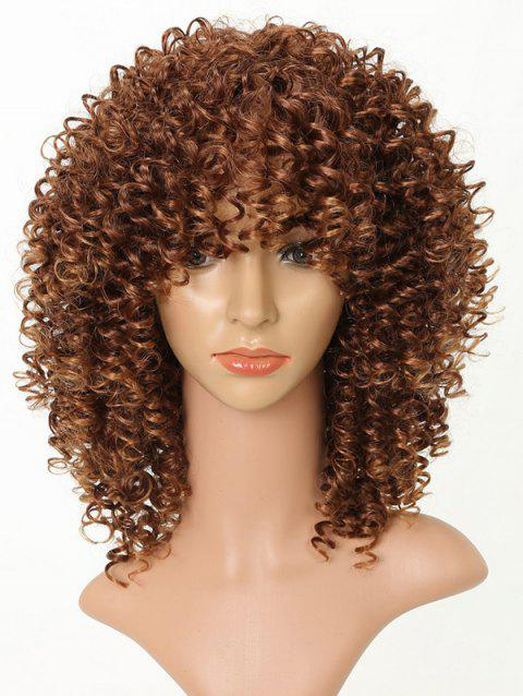 Medium Side Bang Afro Kinky Curly Heat Resistant Synthetic Wig - multicolor B