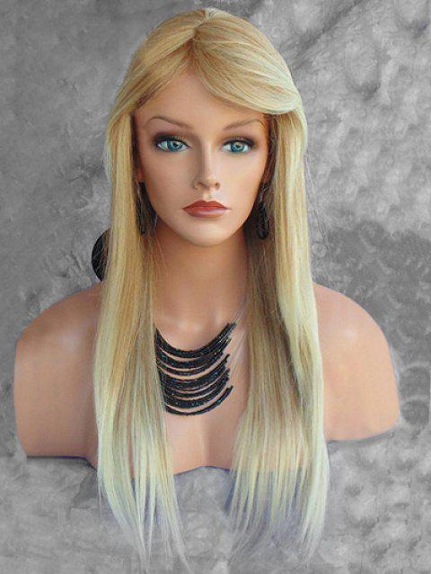 Long Inclined Fringe Colormix Straight Capless Synthetic Wig - multicolor