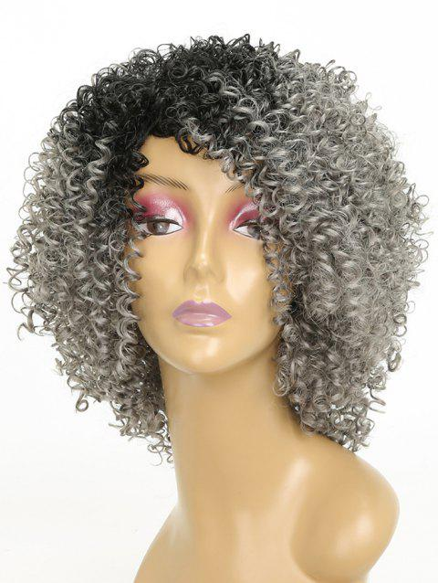Medium Colormix Side Bang Afro Kinky Curly Synthetic Wig - multicolor A