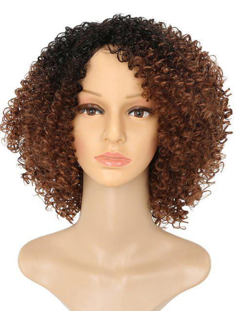 Medium Colormix Side Bang Afro Kinky Curly Synthetic Wig - multicolor B