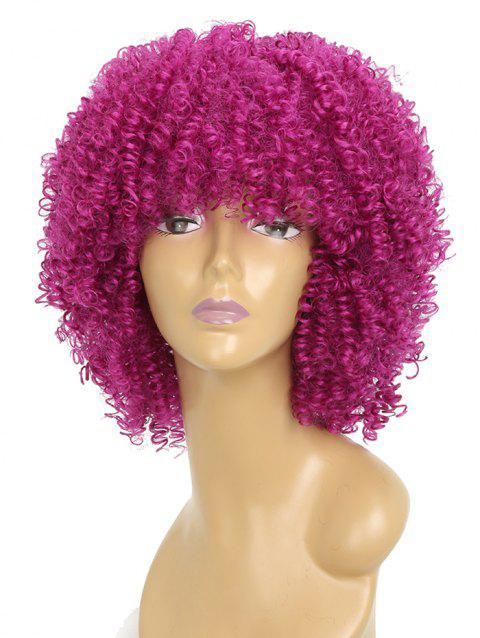 Medium Inclined Bang Capless Afro Kinky Curly Synthetic Wig - ROSE RED