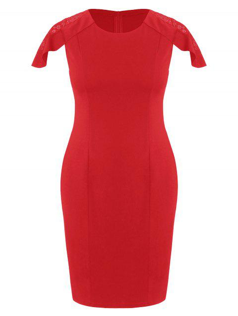 Plus Size Knee Length Tight Dress - RED 1X