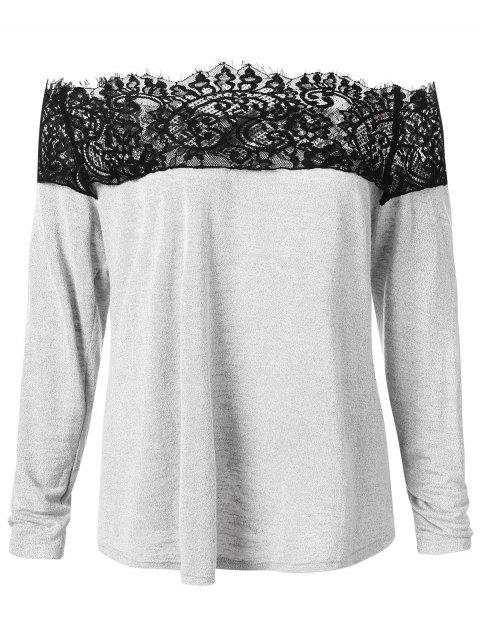 Plus Size Off Shoulder Top with Lace Insert - GRAY L