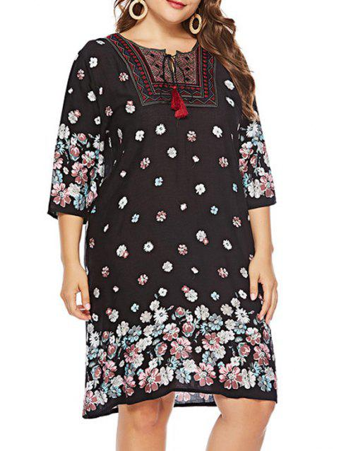 Plus Size Round Neck Floral Print Shift Dress - BLACK 2X