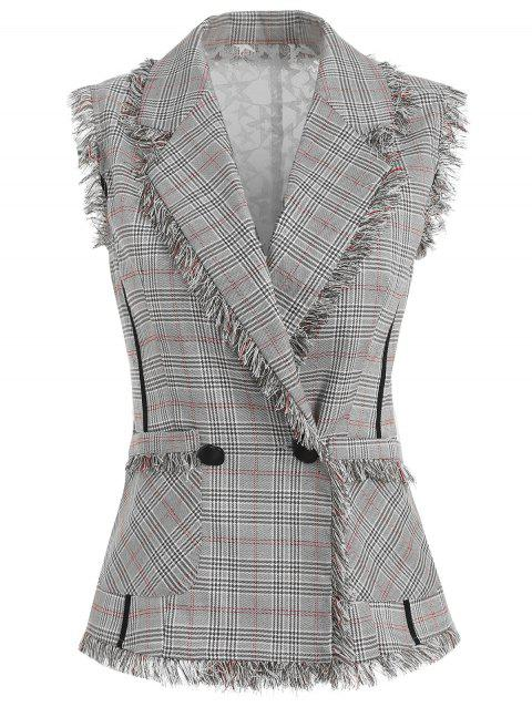 Sheer Lace Back Houndstooth Checker Vest - multicolor XL