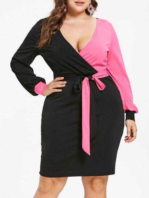Plus Size Contrast Tight Dress - ROSE RED 4X