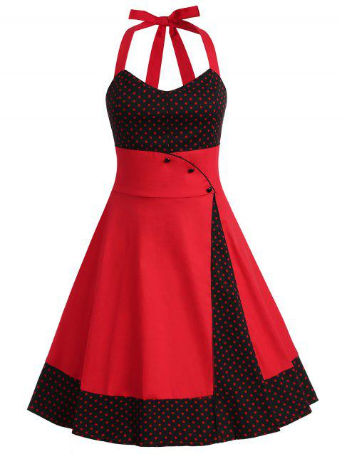 Plus Size Polka Dot Halter Dress - RED 2X