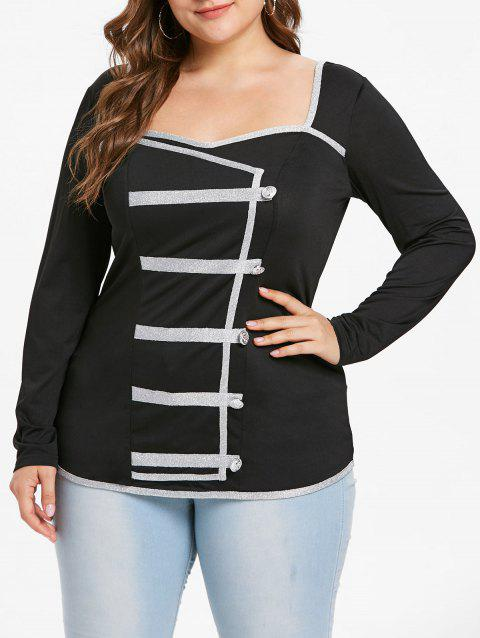 Plus Size Contrast Trim Sweetheart Neck Tee - BLACK 2X