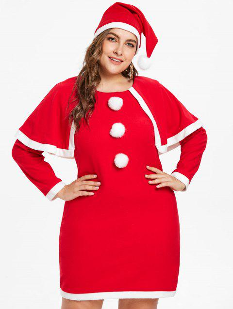 Plus Size Christmas Costume Dress - LAVA RED 2X