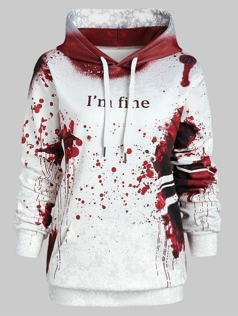 Plus Size Pullover Letter Pattern Halloween Hoodie - RED WINE 5X