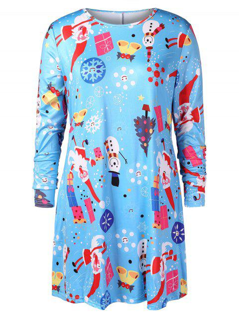 Christmas Plus Size Printed Graphic T-shirt Dress - DAY SKY BLUE 1X