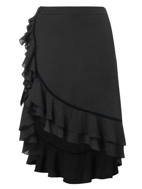 Pus Size Asymmetric Maxi Skirt with Flounce - BLACK 3X