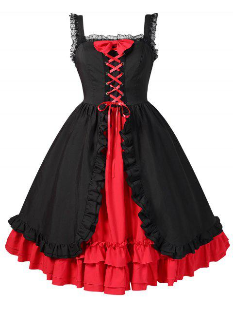 Halloween Plus Size Contrast Layered Vintage Dress - BLACK 4X