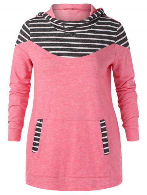 Plus Size Striped Longline Hoodie - PINK L