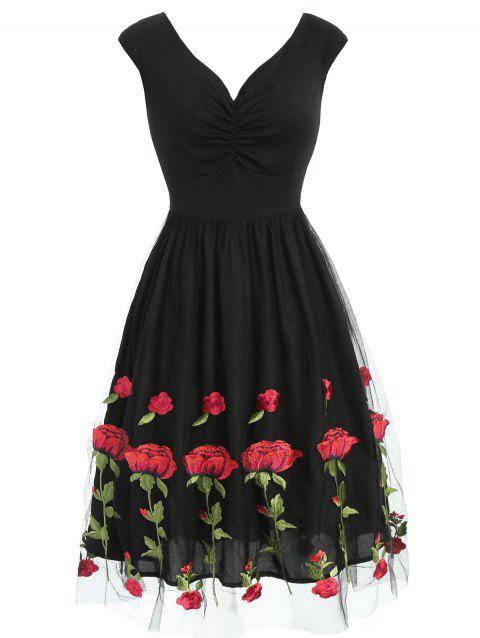 Ruched Rose Embroidered Skater Tulle Dress - BLACK S
