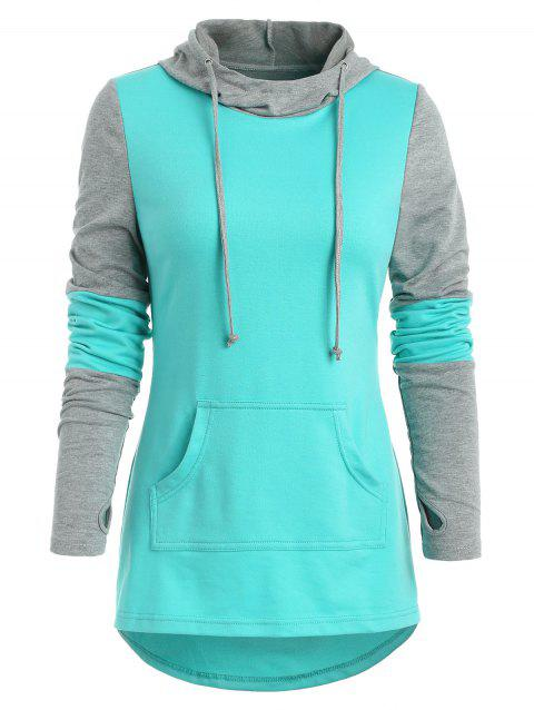 Armhole Two Tone Hoodie - MEDIUM TURQUOISE L