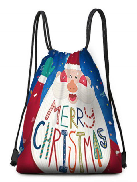 Cartoon Santa Claus Pattern Drawstring Christmas Gift Bag - multicolor