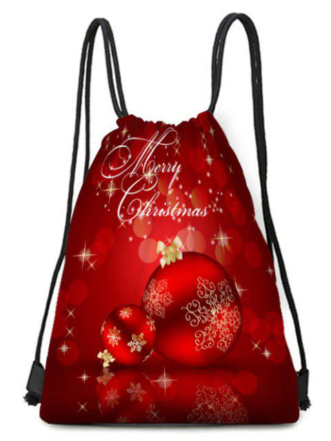 Merry Christmas Ball Pattern Drawstring Gift Bag - multicolor