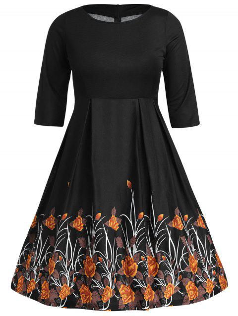 Plus Size Floral Pattern A Line Dress - BLACK 2X