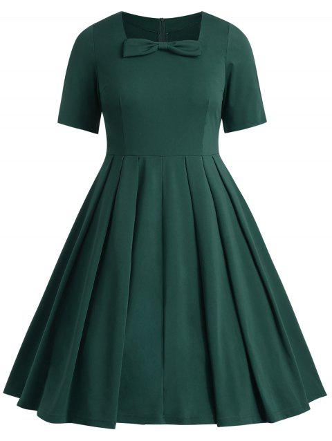 Plus Size Knot Square Neck Dress - DARK GREEN 2X