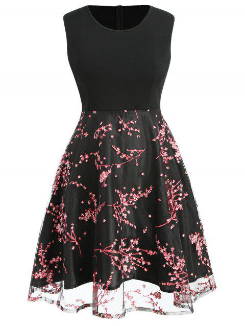 Plus Size Print Panel A Line Dress - BLACK 1X