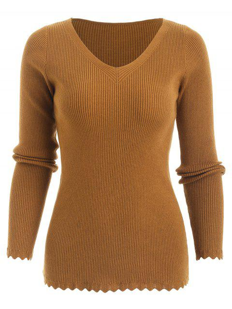 Plus Size V Neck Fitted Sweater - ORANGE GOLD L
