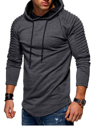9e993c8b320 Solid Color Pleated Sleeve Long Fleece Hoodie